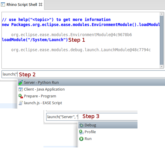 Launching with EASE - using auto completion